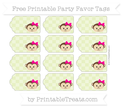 Free Pastel Lime Green Checker Pattern Girl Monkey Party Favor Tags