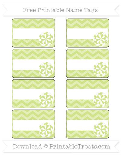 Free Pastel Lime Green Chevron Cheer Pom Pom Tags