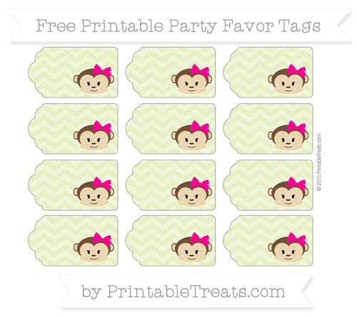 Free Pastel Lime Green Chevron Girl Monkey Party Favor Tags