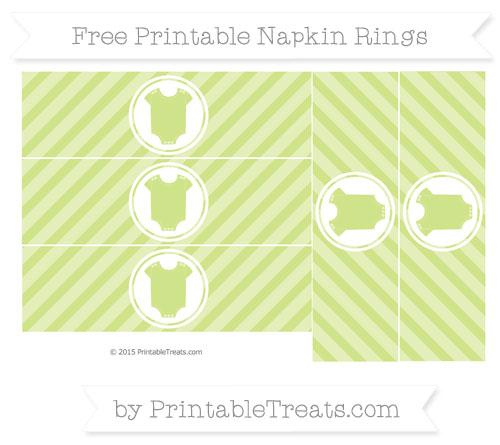 Free Pastel Lime Green Diagonal Striped Baby Onesie Napkin Rings