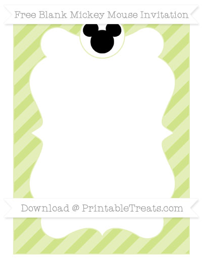 Free Pastel Lime Green Diagonal Striped Blank Mickey Mouse Invitation