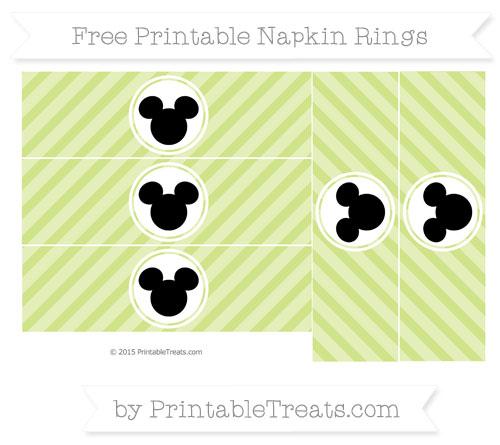 Free Pastel Lime Green Diagonal Striped Mickey Mouse Napkin Rings