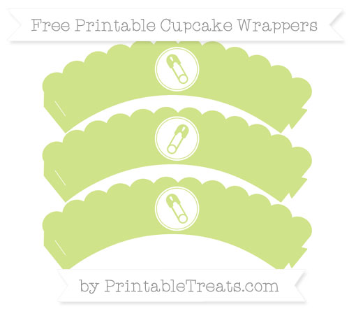Free Pastel Lime Green Diaper Pin Scalloped Cupcake Wrappers