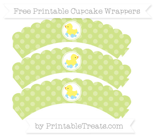 Free Pastel Lime Green Dotted Pattern Baby Duck Scalloped Cupcake Wrappers