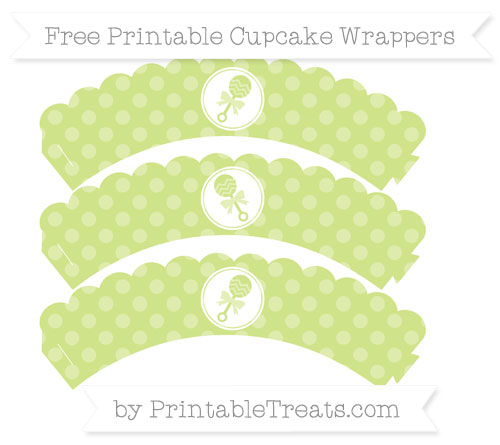Free Pastel Lime Green Dotted Pattern Baby Rattle Scalloped Cupcake Wrappers