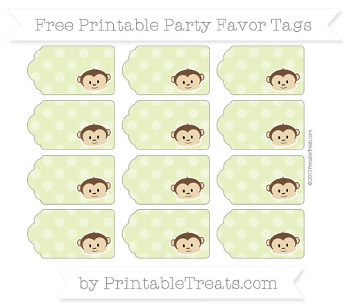 Free Pastel Lime Green Dotted Pattern Boy Monkey Party Favor Tags