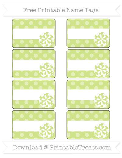 Free Pastel Lime Green Dotted Pattern Cheer Pom Pom Tags