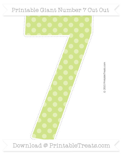 Free Pastel Lime Green Dotted Pattern Giant Number 7 Cut Out