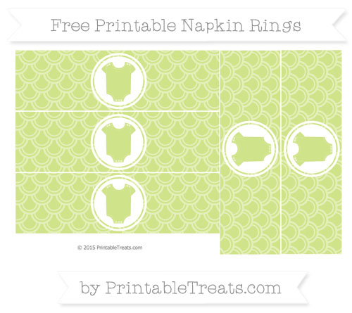 Free Pastel Lime Green Fish Scale Pattern Baby Onesie Napkin Rings