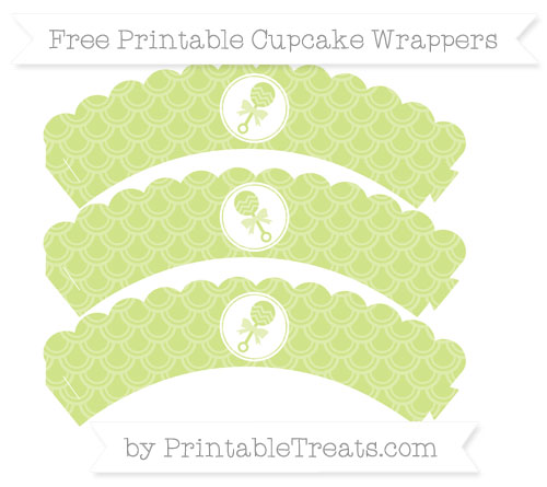 Free Pastel Lime Green Fish Scale Pattern Baby Rattle Scalloped Cupcake Wrappers