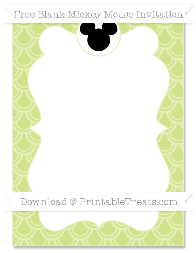 Free Pastel Lime Green Fish Scale Pattern Blank Mickey Mouse Invitation