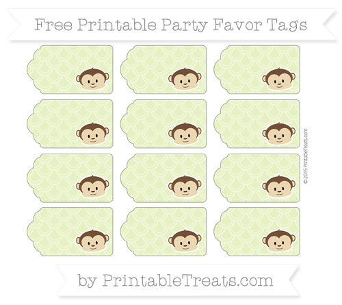 Free Pastel Lime Green Fish Scale Pattern Boy Monkey Party Favor Tags