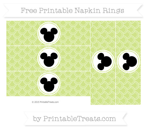 Free Pastel Lime Green Fish Scale Pattern Mickey Mouse Napkin Rings