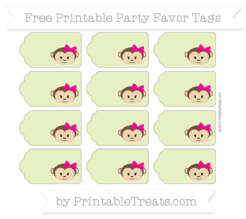 Free Pastel Lime Green Girl Monkey Party Favor Tags
