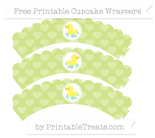 Free Pastel Lime Green Heart Pattern Baby Duck Scalloped Cupcake Wrappers