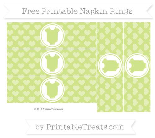 Free Pastel Lime Green Heart Pattern Baby Onesie Napkin Rings