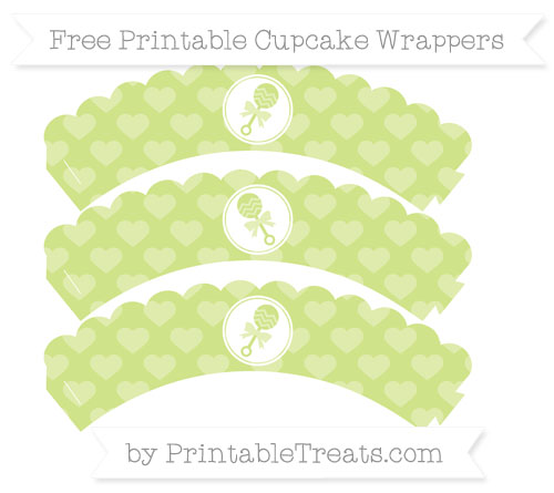 Free Pastel Lime Green Heart Pattern Baby Rattle Scalloped Cupcake Wrappers