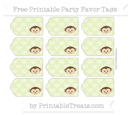 Free Pastel Lime Green Heart Pattern Boy Monkey Party Favor Tags