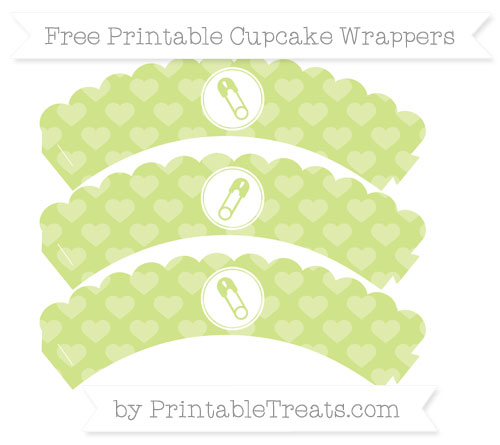 Free Pastel Lime Green Heart Pattern Diaper Pin Scalloped Cupcake Wrappers