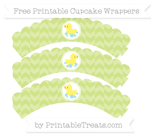 Free Pastel Lime Green Herringbone Pattern Baby Duck Scalloped Cupcake Wrappers