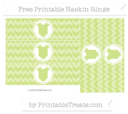 Free Pastel Lime Green Herringbone Pattern Baby Onesie Napkin Rings