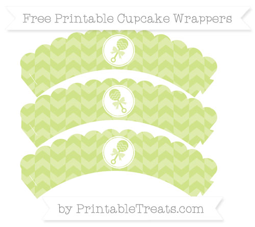 Free Pastel Lime Green Herringbone Pattern Baby Rattle Scalloped Cupcake Wrappers