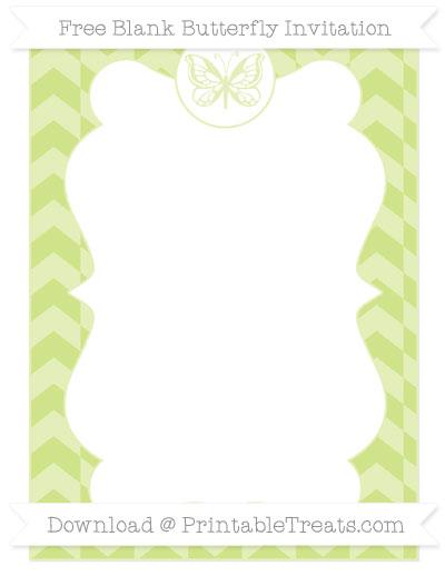 Free Pastel Lime Green Herringbone Pattern Blank Butterfly Invitation