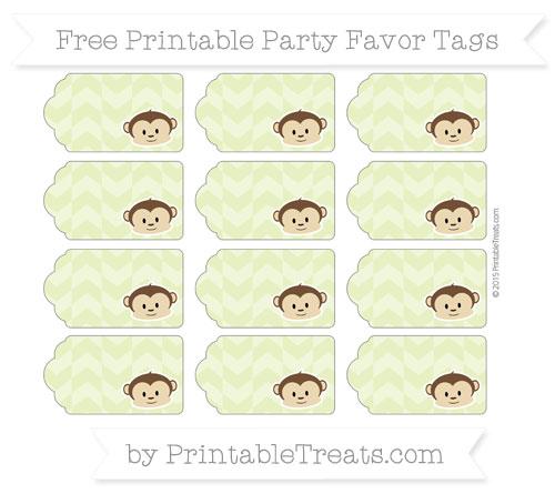 Free Pastel Lime Green Herringbone Pattern Boy Monkey Party Favor Tags