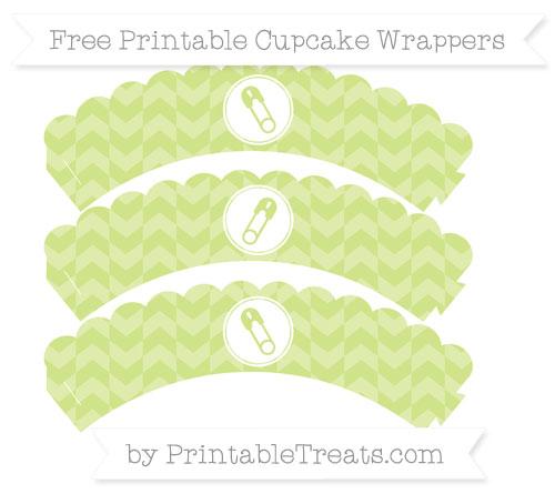 Free Pastel Lime Green Herringbone Pattern Diaper Pin Scalloped Cupcake Wrappers