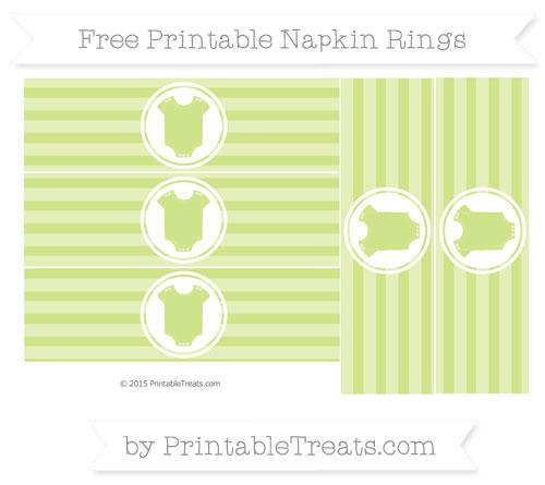 Free Pastel Lime Green Horizontal Striped Baby Onesie Napkin Rings