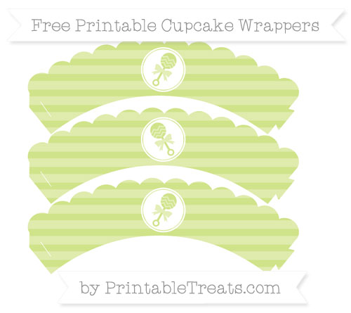 Free Pastel Lime Green Horizontal Striped Baby Rattle Scalloped Cupcake Wrappers