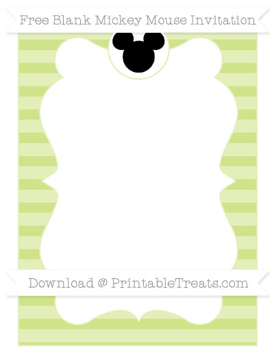 Free Pastel Lime Green Horizontal Striped Blank Mickey Mouse Invitation