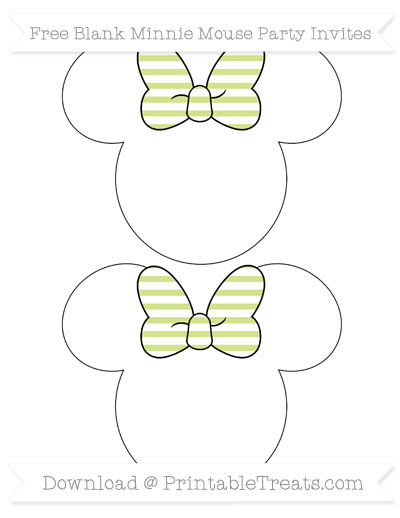 Free Pastel Lime Green Horizontal Striped Blank Minnie Mouse Party Invites