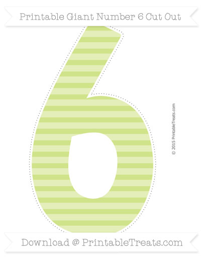 Free Pastel Lime Green Horizontal Striped Giant Number 6 Cut Out