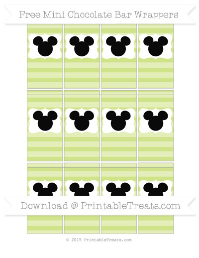 Free Pastel Lime Green Horizontal Striped Mickey Mouse Mini Chocolate Bar Wrappers