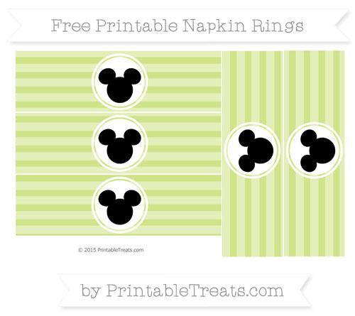 Free Pastel Lime Green Horizontal Striped Mickey Mouse Napkin Rings