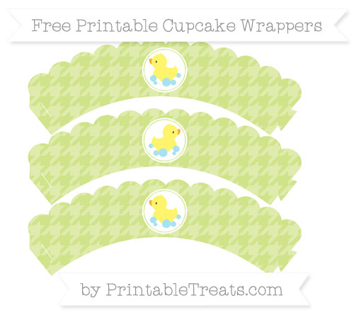 Free Pastel Lime Green Houndstooth Pattern Baby Duck Scalloped Cupcake Wrappers