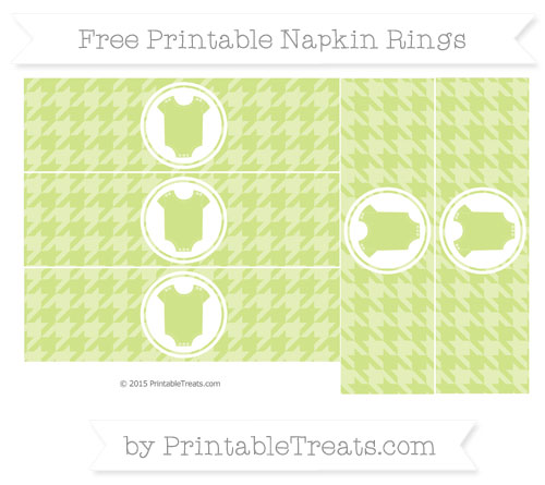 Free Pastel Lime Green Houndstooth Pattern Baby Onesie Napkin Rings