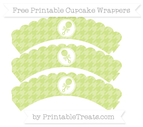 Free Pastel Lime Green Houndstooth Pattern Baby Rattle Scalloped Cupcake Wrappers
