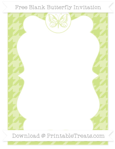 Free Pastel Lime Green Houndstooth Pattern Blank Butterfly Invitation