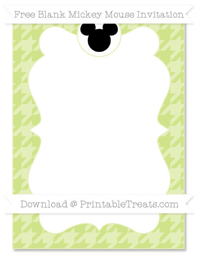 Free Pastel Lime Green Houndstooth Pattern Blank Mickey Mouse Invitation