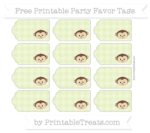 Free Pastel Lime Green Houndstooth Pattern Boy Monkey Party Favor Tags