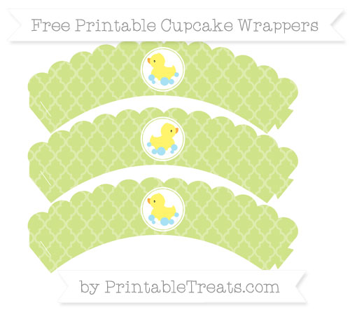 Free Pastel Lime Green Moroccan Tile Baby Duck Scalloped Cupcake Wrappers