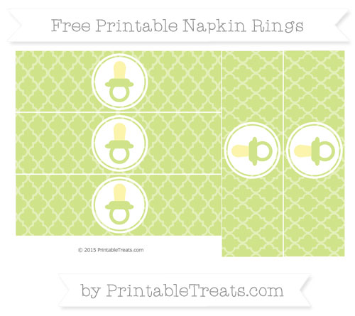 Free Pastel Lime Green Moroccan Tile Baby Pacifier Napkin Rings