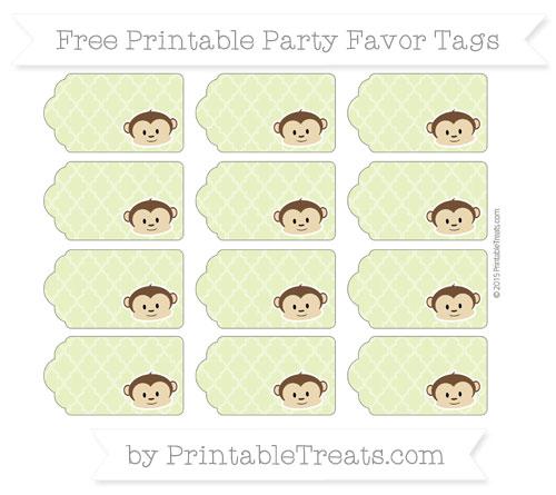 Free Pastel Lime Green Moroccan Tile Boy Monkey Party Favor Tags