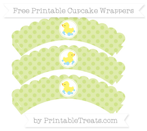 Free Pastel Lime Green Polka Dot Baby Duck Scalloped Cupcake Wrappers