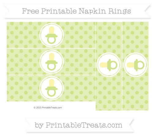 Free Pastel Lime Green Polka Dot Baby Pacifier Napkin Rings