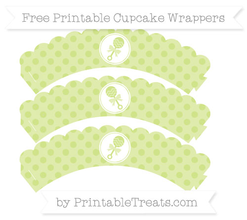 Free Pastel Lime Green Polka Dot Baby Rattle Scalloped Cupcake Wrappers
