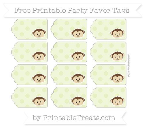 Free Pastel Lime Green Polka Dot Boy Monkey Party Favor Tags