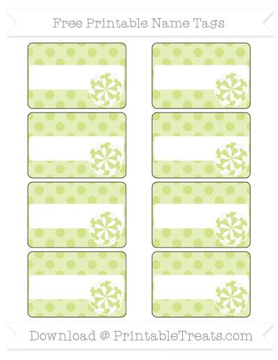 Free Pastel Lime Green Polka Dot Cheer Pom Pom Tags